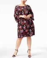 Sangria Plus Size Printed Bell-Sleeve Dress