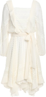 Zimmermann Ruffled Swiss Dot Silk And Cotton-blend Georgette Mini Dress