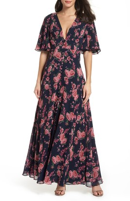 Fame & Partners The Meyer Floral Print Gown