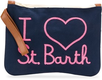 MC2 Saint Barth Slogan-Print Wrist-Strap Clutch