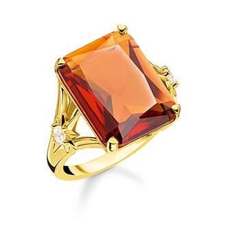 Thomas Sabo Women Ring Orange Stone, Large, with Star 925 Sterling Silver, 18k Yellow Gold Plating TR2261-971-8