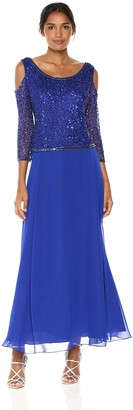 J Kara Women's Cold Shoulder Beaded Gown