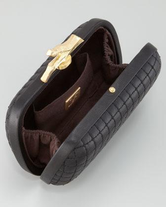 Diane von Furstenberg Lytton Quilted Leather Clutch Bag, Black