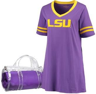 Unbranded Women's Purple LSU Tigers Plus Size Football Jersey Night Dress & Mini Duffel Bag Set