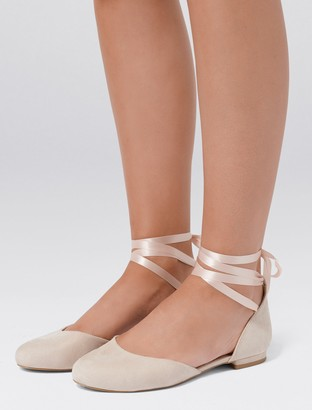Forever New Faye Ankle Tie Ballerina Flats - Nude - 38