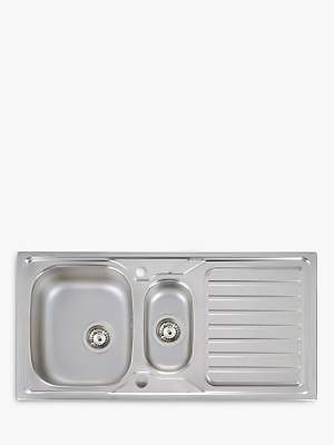 John Lewis & Partners 1.5 Bowl Inset Stainless Steel Kitchen Sink & Drainer, Satin Steel