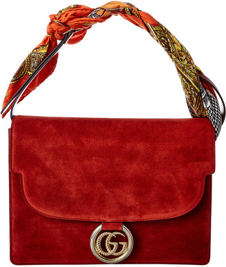 Gucci Scarf Medium Suede & Leather Shoulder Bag