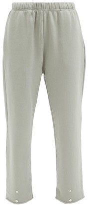 LES TIEN Snap-front Brushed-back Cotton Track Pants - Light Grey
