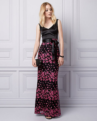 Le Château Embroidered Mesh V-Neck Gown
