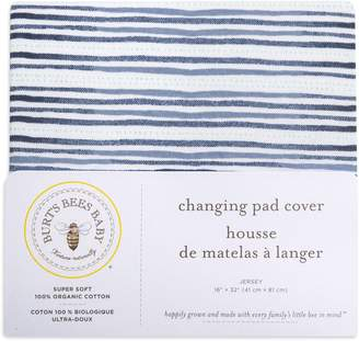 Burt's Bees Watercolor Stripe On the Road Organic Cotton BEESNUG Fitted Changing Pad Cover