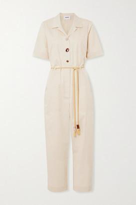 Nanushka Zuni Belted Embellished Cotton-blend Poplin Jumpsuit