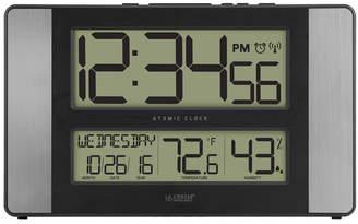 La Crosse Technology Atomic Digital Clock with Indoor Temperature and Humidity, Aluminum finish