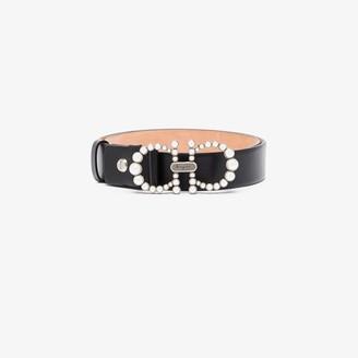 Salvatore Ferragamo black Gancini embellished leather belt