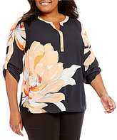 Gibson & Latimer Plus 3/4 Roll-Tab Large Floral Print Blouse