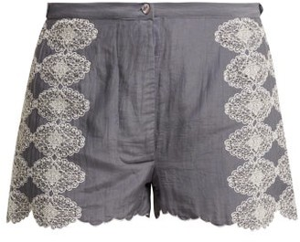 Thierry Colson Armand Lace-embroidered Shorts - Womens - Grey White