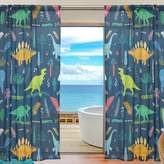 Franzibla Cute Cartoon Dinosaur Pattern Print Window Sheer Curtain Panels, 2 PCS 55x78 inch, Gauze Curtain for Living Room Bedroom Home Decor