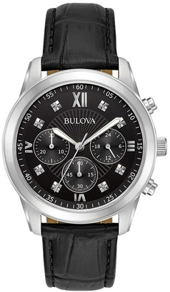 Bulova Dress Standard Diamond Stainless Steel & Leather-Strap Chronograph Watch