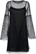 MM6 MAISON MARGIELA mesh layered flared dress - women - Cotton/Polyamide/Spandex/Elastane/Viscose - M