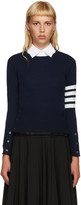 Thom Browne Navy Cashmere Classic Pullover