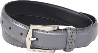 Stacy Adams Men's 30mm Pinseal Leather Belt (Reg & Big Sizes) Grey 36
