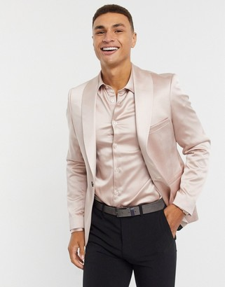 Twisted Tailor skinny suit jacket in blush pink