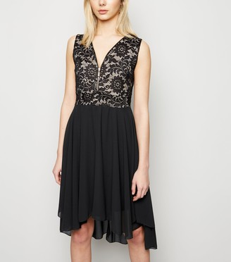 New Look Mela Lace Zip Dip Hem Dress