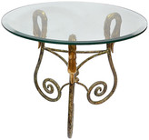 One Kings Lane Vintage Wrought Iron Side Table Italy Brass Swan - Galleria d'Epoca - brass/gold/clear