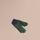 Burberry Wool Cashmere Ribbed Trim Suede Gloves , Size: 8.5, Green