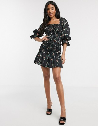 ASOS DESIGN cotton poplin shirred mini dress with lace up back in floral print