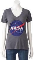 "Juniors' ""NASA"" Planet V-Neck Graphic Tee"