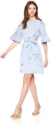 Donna Morgan Women's Embroidered Shift Dress with Self-Tie Belt