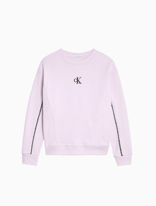 Calvin Klein Girls Monogram Logo Piped Sweatshirt