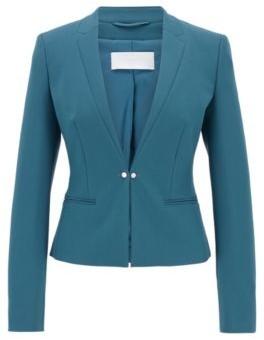 HUGO BOSS Regular Fit Jacket With Cufflink Style Front Closure - Dark Blue