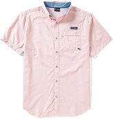 Columbia PFG Super Harborside Micro-Gingham Short-Sleeve Woven Shirt