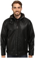 Calvin Klein Pebble Faux-Leather Moto Jacket with Faux-Shearling