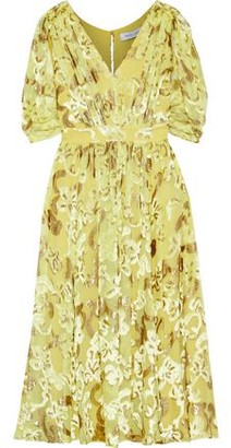 Prabal Gurung Button-embellished Metallic Fil Coupe Chiffon Dress