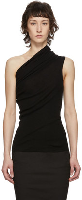Rick Owens Black One Shoulder Tank Top