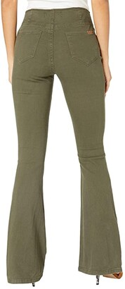 Rock and Roll Cowgirl High-Rise Pull-On Flare in Olive Green W1P6157