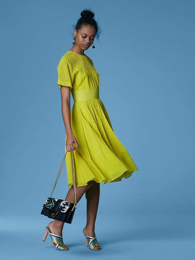 Diane von Furstenberg Short-Sleeve Pintuck Dress