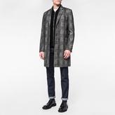 Paul Smith Men's Dark Grey Muted-Check Wool-Blend Overcoat
