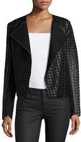 Bagatelle Cropped Cutout Leather Moto Jacket, Black