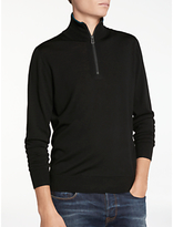 Paul Smith Half Zip Merino With Tipping Jumper, Black