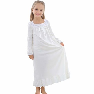 Flwydran Nightgowns for Girls Long Vintage Soft Cotton Kid Sleepwear Nighties Full Length Nightdress for Kids