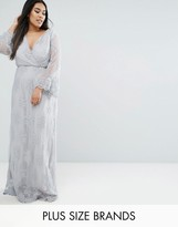 Club L Plus Embroided Lace Maxi Dress With Wrap Front