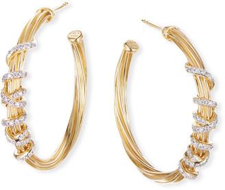 David Yurman Helena 18k Diamond Wrapped Hoop Earrings, 30mm