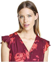 Joe Fresh Women's Print V-Neck Midi Dress, Dark Red (Size L)