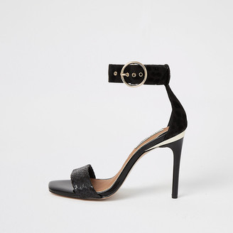 River Island Black embossed barely there heeled sandals