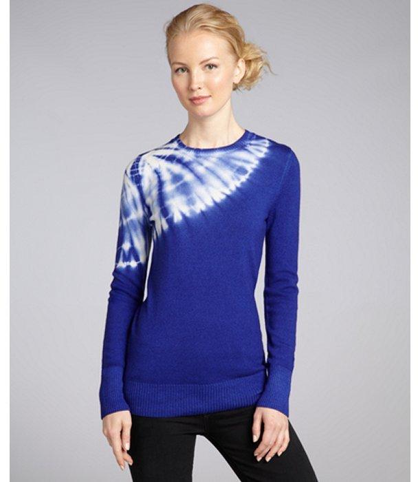C3 Collection blue sapphire asymmetrical tie dye cashmere crewneck sweater