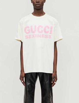 Gucci Sexiness text-print cotton-jersey T-shirt