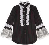 Anna Sui Lace-Trimmed Striped Cotton Top